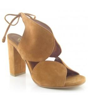 Sandalia de vestir tacón alto cuero
