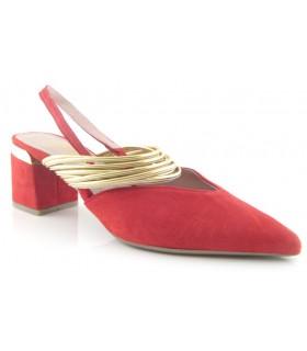 Zapato salón color rojo tiras doradas