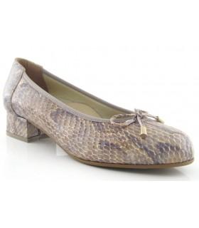 Zapato salón confort serpiente taupe