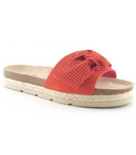 Sandalia plana lazo serraje rojo