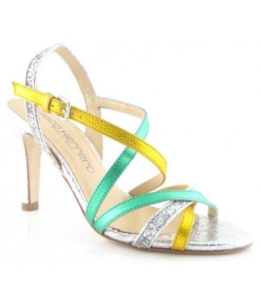 Zapatos de vestir metalizado verde y amarillo