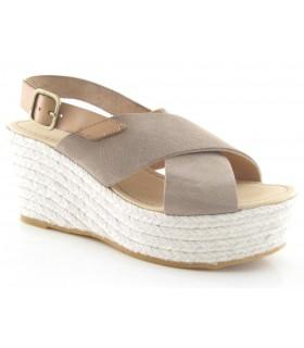 Sandalias de cuña alta color piedra
