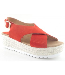 Sandalia con plataforma de yute en color rojo