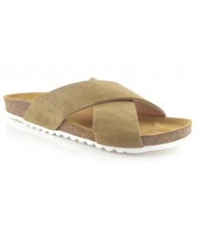 Sandalias con tiras cruzadas en color kaki