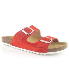 Sandalia con dos hebillas en color rojo
