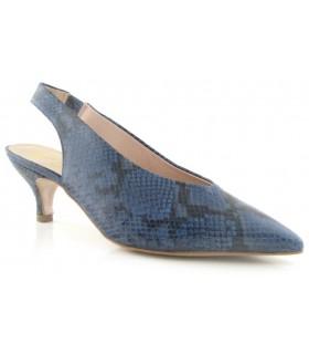 Zapato corte salón destalonado en serpiente jeans