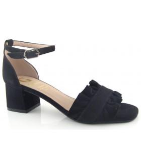 Sandalias de tacón para mujer en ante negro