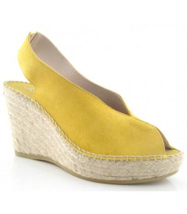 Alpargata de cuña alta color amarillo con abertura