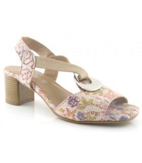 Sandalia de tacón con adorno en multicolor