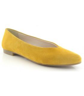 Zapato salón mujer serraje ocre