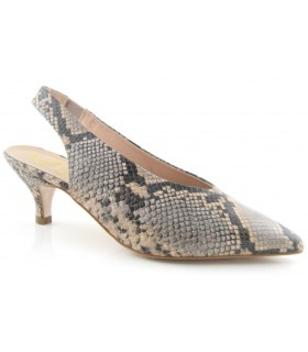 Zapato corte salón para mujer destalonado en serpiente arena