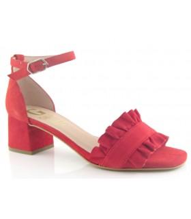 Sandalias para mujer de tacón en ante rojo