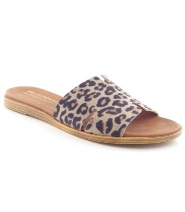 Sandalia plana en forma de H en color leopardo