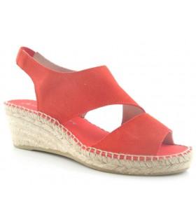 Sandalia de cuña en color rojo