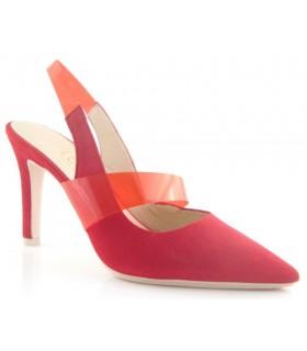 Zapato de vestir en color rojo con tira de vinilo