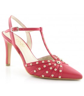 Zapatos de vestir en color rojo con tachas