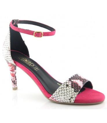 Sandalia ante rosa combinado serpiente