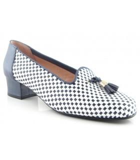Zapato trenzado color azul y blanco