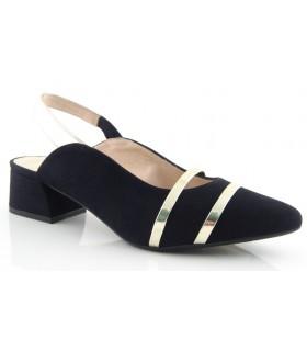 Zapato corte salón negro con bandas metalizadas