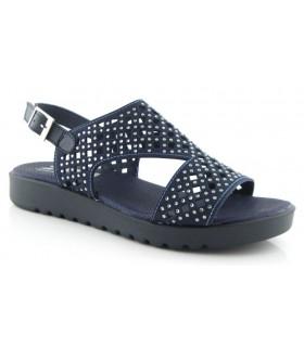 Sandalia de confort para mujer con tachas y adornos
