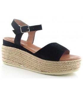 Sandalia negra con plataforma de yute para mujer