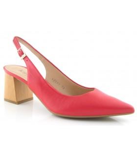 Zapato corte salón destalonado en piel roja