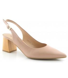 Zapato corte salón de piel con talón abierto