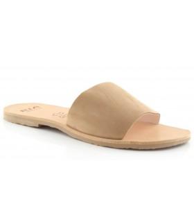 Sandalia plana con tira camel