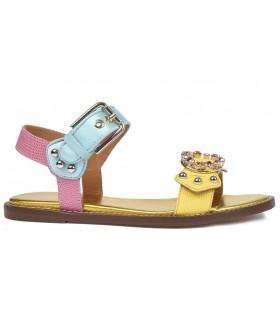 Sandalia para mujer multicolor con hebillas y adornos