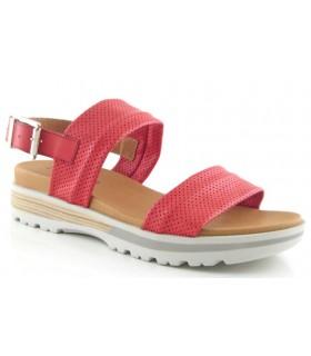 Sandalia plana en napa rojo