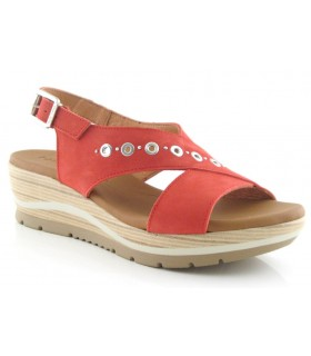 Sandalia de cuña color rojo
