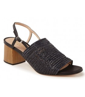 Sandalia tacón rafia color negro