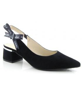 Zapato corte salón con lazo tobillero color negro