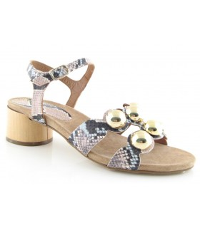 Sandalias de tacón circular con adornos en semiesfera