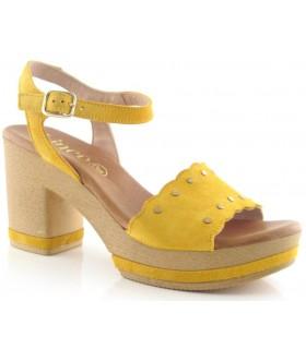 Sandalia de tacón alto color ocre