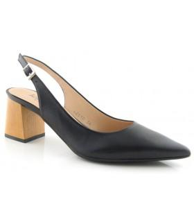 Zapato corte salón destalonado en piel negra