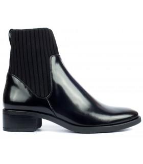 Botín negro para mujer con calcetín