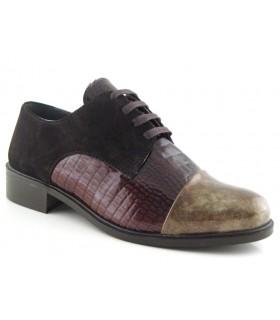 Zapatos de cordones combinados en coco