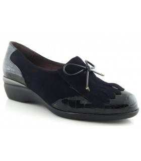 Zapato con fleco combinado serraje charol