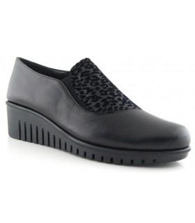 Zapatos de cuña con estampado leopardo gris
