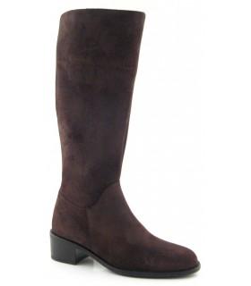 Bota de caña alta en serraje engrasado marrón