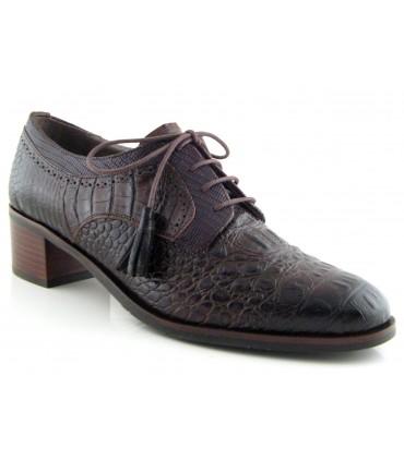 Zapato de cordones en coco marrón