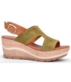 Sandalia para mujer en serraje verde