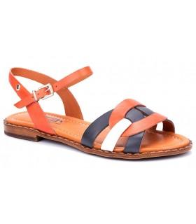 Sandalia combinada de color cuero