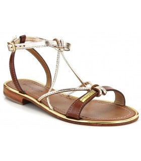 Sandalia para mujer en oro y cuero
