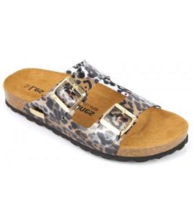 Sandalia de vinilo leopardo