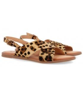 Sandalia cruzada estampada leopardo
