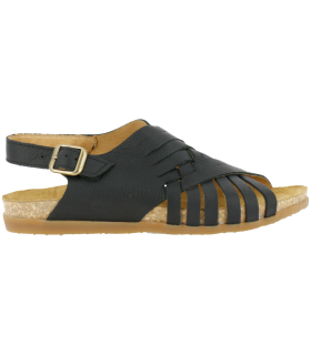 Sandalia de piel de color negro