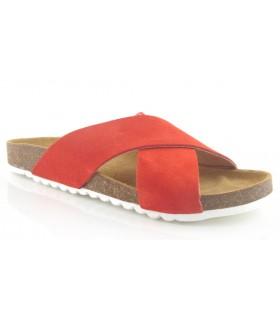 Sandalia de dos tiras en serraje rojo