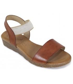 Sandalia de color cuero con elástico